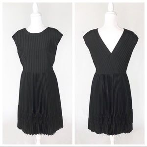 Ted Baker London pleated dress V-back black LBD 3